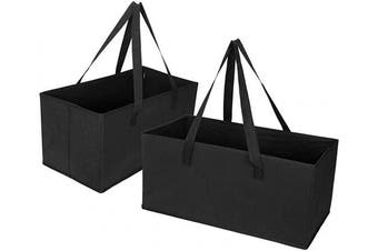 (Set of 2 - XL) - VENO 2 Packs Extra Large Reusable Grocery Shopping Bags, Storage Boxes, Handy, Premium Quality, Heavy Duty Tote with Handles, Reinforced Bottom. Foldable, Collapsible, Made from Recycled Material (XL)