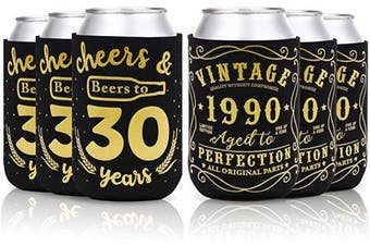 (30th birthday can sleeves) - 30th Birthday Party Favour Decorations Supplies Cheers & Beers to 30 Years Can Sleeves Vintage 1990 Can Cover Beer Sleeves Black and Gold Neoprene Sleeves for Soda Beer Can Beverage Set of 12