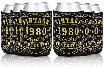 (40th birthday can sleeves) - 40th Birthday Party Favour Decorations Supplies Cheers to 40 Years Can Sleeves Vintage 1980 Can Cover Can Sleeves Black and Gold Neoprene Sleeves for Soda Can Beverage Set of 12