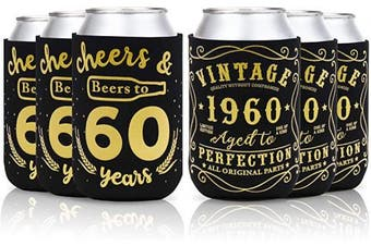 (60th birthday can sleeves) - 60th Birthday Party Favour Decorations Supplies Cheers & Beers to 60 Years Can Sleeves Vintage 1960 Can Cover Beer Sleeves Black and Gold Neoprene Sleeves for Soda Beer Can Beverage Set of 12
