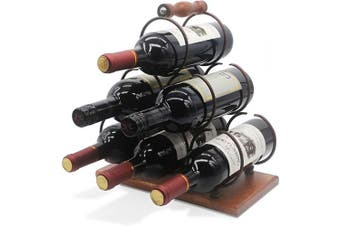 Tabletop Wood Wine Holder for 6 Bottles, Rustic Wood Countertop Wine Rack, 3-Tier Classic Design, Sturdy Handle, Simple Assembly, Wood & Metal (Copper)