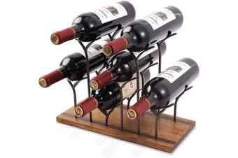 (6 Wine Bottles) - STONE Countertop Bottle Rack, Tabletop Wood Bottle Holder, Hold 6 Bottles, Perfect for Home Decor & Kitchen Storage Rack, Bar, Cellar, Cabinet, Pantry, etc, Wood & Metal (Bronze)