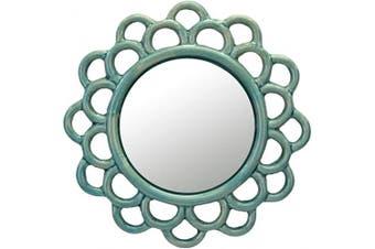 (Turquoise) - Stonebriar Turquoise Decorative Round Cutout Ceramic Wall Hanging Mirror