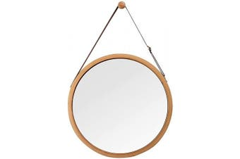 (43cm  - 1.9cm , Bamboo) - Hanging Round Wall Mirror in Bathroom & Bedroom - Solid Bamboo Frame & Adjustable Leather Strap (Bamboo, 43cm - 1.9cm )