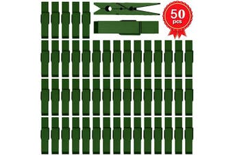 (50, Hunter Green) - ANJUU 50pcs Colourful Clothespins Natural Wooden Coloured Clothespins, Photo Paper Peg Pin Craft Spring Clips for Home Arts Crafts Decor, 7cm (Hunter Green)