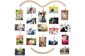 Photo Display Picture Frame Collage by Multi Photo Display with 30 Clips, Wood Photo Frame Hanging for Wall Decor 25.5×70cm