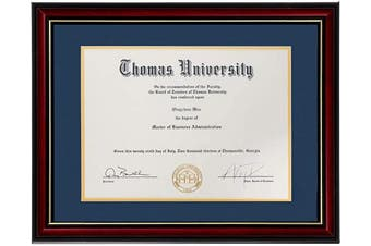 (1, Navy Blue) - Flagship Diploma Frame Real Wood & Glass Golden Rim Sized 22cm x 28cm with Mat and 28cm x 36cm Without Mat for Documents Certificates (Double Mat, Navy Blue Mat with Golden Rim) (Navy Blue, 1)