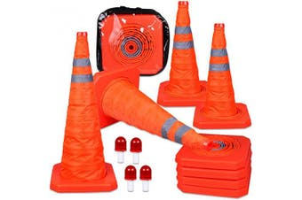 CARTMAN 70cm Collapsible Traffic Cones with LED Light Multi Purpose Pop up Reflective Safety Cone 4PK