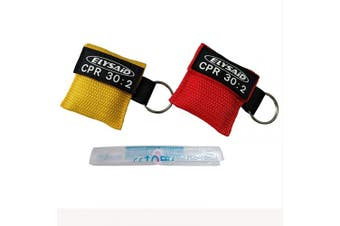 2pcs/lot CPR Barrier With Keychain CPR Face Shield AED Red & Yellow Pouch CPR 30:2