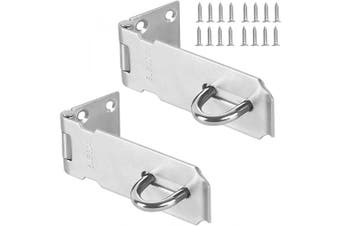 (2 PCS 3Inch) - 2 PCS 3 Inch Padlock Hasp, KINJOEK Stainless Steel Security Door Clasp Hasp Lock Latch, 2mm Extra Thick Door Gate Bolt Lock with 16 Mounting Screws