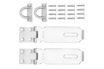 (2 PCS 5Inch) - 2 PCS 5 Inch Padlock Hasp, KINJOEK Stainless Steel Security Door Clasp Hasp Lock Latch, 2mm Extra Thick Door Gate Bolt Lock with 16 Mounting Screws