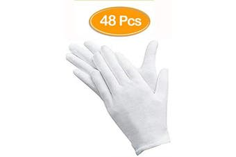 (color 48) - 48 Pcs White Gloves, ANDSTON 24 Pairs Soft Cotton Gloves, Coin Jewellery Silver Inspection Gloves, Stretchable Lining Glove, Medium Size