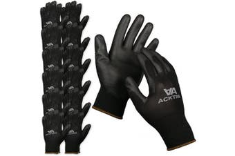 (Small, Black/Black) - ACKTRA Ultra-Thin Polyurethane (PU) Coated Nylon Safety WORK GLOVES 12 Pairs, Knit Wrist Cuff, for Precision Work, for Men & Women, WG002 Black Polyester, Black Polyurethane, Small
