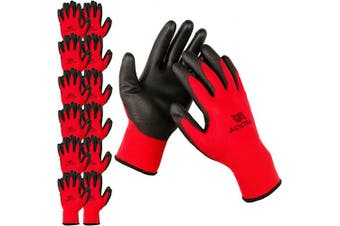 (Small, Red/Black) - ACKTRA Ultra-Thin Polyurethane (PU) Coated Nylon Safety WORK GLOVES 12 Pairs, Knit Wrist Cuff, for Precision Work, for Men & Women, WG002 Red Polyester, Black Polyurethane, Small