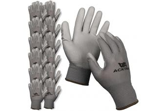 (Small, Grey/Grey) - ACKTRA Ultra-Thin Polyurethane (PU) Coated Nylon Safety WORK GLOVES 12 Pairs, Knit Wrist Cuff, for Precision Work, for Men & Women, WG002 Grey Polyester, Grey Polyurethane, Small