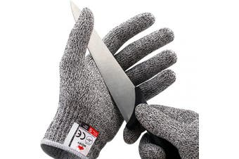 (Medium) - NoCry Cut Resistant Gloves - Ambidextrous, Food Grade, High Performance Level 5 Protection. Size Medium, Complimentary Ebook Included