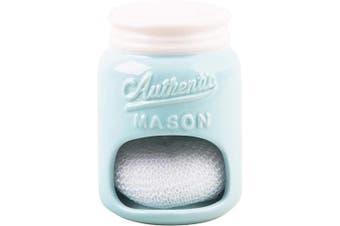 (Mason Jar Aqua Blue) - Farmhouse Decor Kitchen Sink Scrubby Holder (Mason Jar Aqua Blue)