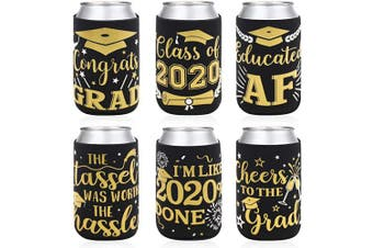 2020 Graduation Party Favour Decorations Supplies Graduation Can Sleeves Can Covers Black and Gold Neoprene Sleeves for Soda Beer Can Beverage Set of 12