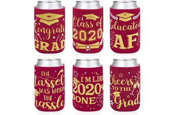 2020 Graduation Party Favour Decorations Supplies Red Graduation Can Sleeves Can Covers Neoprene Sleeves for Soda Beer Can Beverage Set of 12