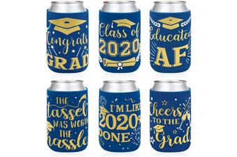 2020 Graduation Party Favour Decorations Supplies Blue Graduation Can Sleeves Can Covers Neoprene Sleeves for Soda Beer Can Beverage Set of 12