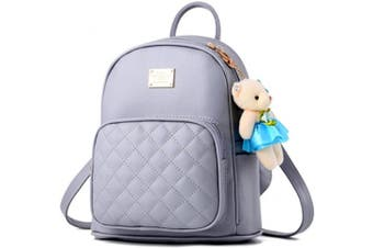(Light Grey) - Women Cute Leather Laides Shopping Casual Backpack Travle Backpack for Girls