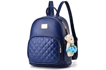 (Dark Blue) - Women Cute Leather Laides Shopping Casual Backpack Travle Backpack for Girls