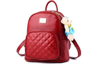 (Burgundy?) - Women Cute Leather Laides Shopping Casual Backpack Travle Backpack for Girls