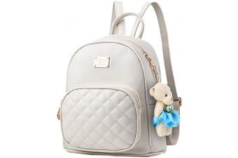 (White) - Women Cute Leather Laides Shopping Casual Backpack Travle Backpack for Girls