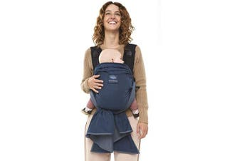 manduca Duo - Hybrid of Baby Carrier and Sling, Innovative Click & Tie System, Baby Slip-Through-Protection, Removable Hip Belt, Organic Cotton and Mesh, from Birth to 15kg (Blue)