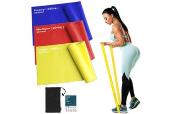 (Mixed Resistance) - Sportout Resistance Band Set, 2m Ultra Long Exercise Bands, 3 Resistance Levels Stretch Bands, with Guidebook and Bag,Ideal for Yoga, Ballet, Pilates, Physiotherapy, Training & Fitness Workouts