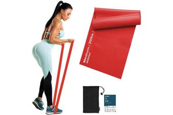 (Red-20lbs-Medium Resistance) - Sportout Resistance Band Set, 2m Ultra Long Exercise Bands, 3 Resistance Levels Stretch Bands, with Guidebook and Bag,Ideal for Yoga, Ballet, Pilates, Physiotherapy, Training & Fitness Workouts
