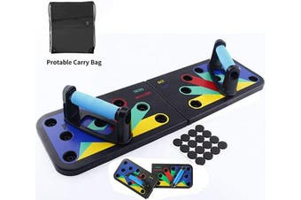 (Blue(Foldable)) - Risefit Push Up Board - 9 In 1 Body Building Rack Fitness Comprehensive Exercise Workout Board Gym Training Muscle Board Home Gym Fitness Equipment
