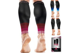 (Black & Pink S/M) - Calf Sleeves for Men & Women (20-30 mmHg) - Calf Support - Compression Calf Guards - Leg Sleeves for Torn Muscle - Shin Splints Brace (Pair) - S/M