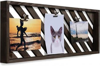 (Gray) - brightmaison Rustic Wood Picture Photo Display Clip Board with Clips 60cm Wall Decor Collage Artworks Prints Multi Pictures Hanging Organiser (Grey)