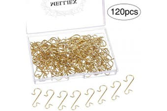 (Gold) - MELLIEX 120pcs Christmas Ornament Hooks Xmas Metal S-Shaped Hook Hangers for Hanging Christmas Tree Decoration, Gold