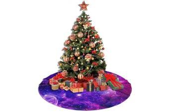 (48, Bursting Galaxy Purple) - AHOOCUSTOM Merry Christmas Tree Skirt Galaxy Purple Blue Nebula, 120cm Large Tree Mat Supplies Decoration Ornament for Xmas Holiday Party