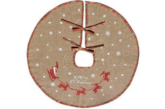 Amajoy Merry Christmas Tree Skirt White Snowflake Burlap Tree Skirt for Xmas Decor Festive Holiday Decoration, 80cm in Diameter