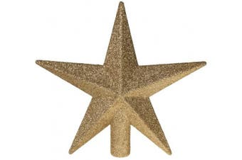 (Gold) - Clever Creations Gold Star Christmas Tree Topper Festive Christmas Decor | Sparkling Gold Shatter Resistant Plastic | 20cm Tall Perfect for Any Size Christmas Tree