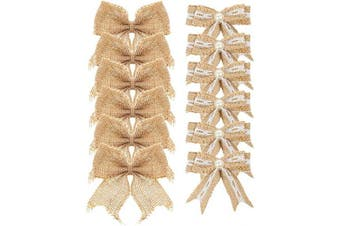 (Mixed 1) - Aokbean Pack of 12 pcs Mini Pearl Natural Burlap Bow for Christmas Tree Topper Wedding Decor Baby Shower and Other DIY Crafts (Mixed 1)