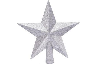 (20cm , Silver) - Aneco Glitter Christmas Tree Topper Shatter-Proof Christmas Tree Decoration Treetop for Holiday Ornament or Home Decor