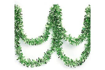 (Light Green) - Anderson's Metallic Tinsel Twist Garland, Light Green - 10cm Wide x 7.6m Long