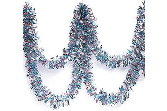 (Light Pink/Light Blue/Silver) - Anderson's Three-Colour Metallic Tinsel Twist Garland, Light Blue, Light Pink, and Silver - 10cm Wide x 7.6m Long