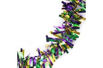 (Purple/Green/Gold) - Anderson's Three-Colour Metallic Tinsel Twist Garland, Purple, Green and Gold - 10cm Wide x 7.6m Long