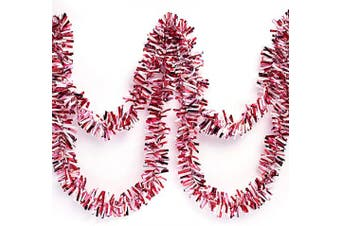 (Red/White/Pink) - Anderson's Three-Colour Metallic Tinsel Twist Garland, Red, White, Pink - 10cm Wide x 7.6m Long