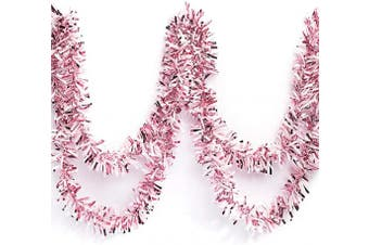 (Light Pink/White) - Anderson's Two-Colour Metallic Tinsel Twist Garland, Light Pink and White - 10cm Wide x 7.6m Long