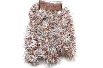 (18.#) - Christmas Elegance 230cm Thin Tinsel Centre Loop Christmas Garland, Rose Gold/White