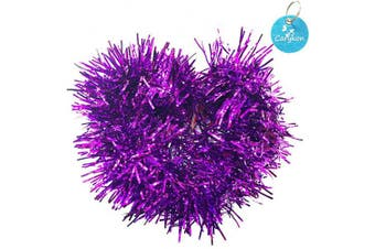 (Purple) - Carykon Elegant Hanging Sparkly Tinsel Garland, 5 Pcs, Each 7.6cm W x 1.8m L, Holiday Decoration (Purple)