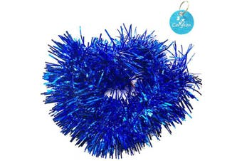 (Blue) - Carykon Elegant Hanging Sparkly Tinsel Garland, 5 Pcs, Each 7.6cm W x 1.8m L, Holiday Decoration (Blue)