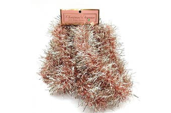 (7#) - Christmas Elegance 230cm Thin Tinsel Centre Loop Christmas Garland, Rose Gold/Champagne