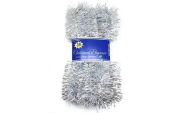 (1#) - Christmas Elegance 11m Christmas Tinsel Garland Classic Christmas Decorations, Silver